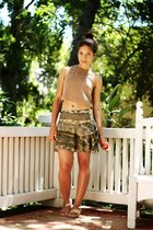 light brown Forever 21 top - olive green silk ruffles M Officer skirt