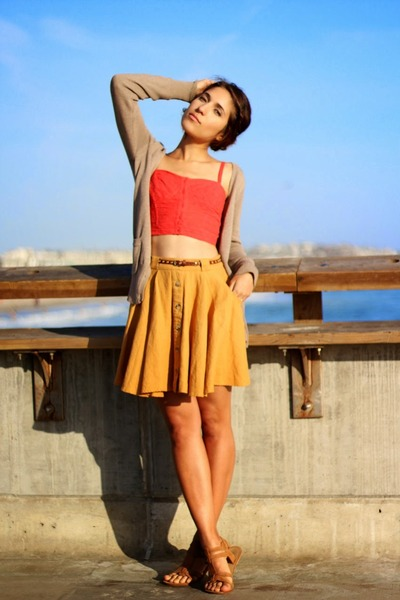 carrot orange crop top PacSun top - tan Zara cardigan - mustard Forever 21 skirt