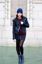 black Topshop jacket - navy shoemint boots - brick red Goodwill sweater