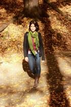 black H&M cardigan - dark brown Datelli boots - navy Gap jeans