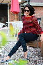 red Forever 21 sweater - black Levis jeans - dark brown Karen Walker sunglasses