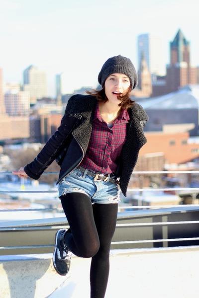 denim American Eagle shorts - black Dr Martens boots - black Topshop jacket