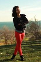 red denim Gap jeans - black leather suede Aldo boots - black Topshop jacket