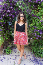 H&M skirt - Karen Walker sunglasses - Aerie bra - H&M top