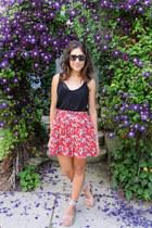 H&M skirt - Karen Walker sunglasses - Aerie bra - H&M top