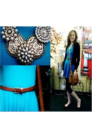 turquoise blue Misimo dress - bronze Peacocks bag - black generation pumps