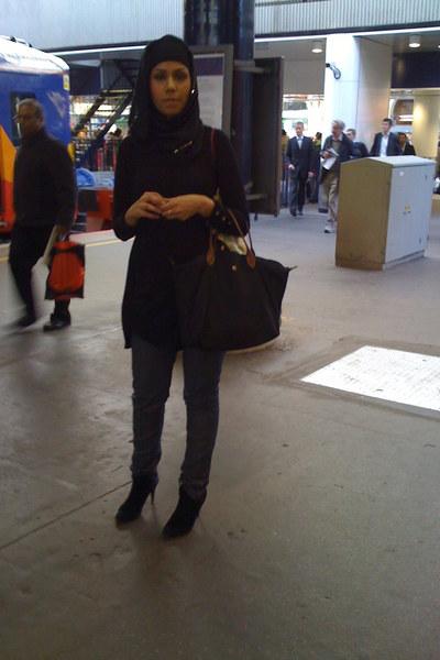 J Brand jeans - debenhams UK scarf - Topshop dress - longchamp accessories - Zar