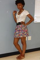 white f21 skirt - white American Apparel shirt - brown shoes - gold f21 necklace