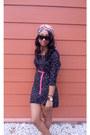 Black-marc-jacobs-watch-black-star-print-zara-dress-pink-braided-belt