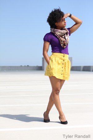deep purple shirt - purple scarf - yellow skirt