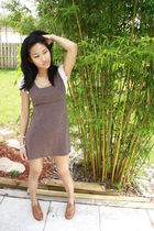 brown Urban Outfitters dress - brown Steve Madden shoes - white necklace - white