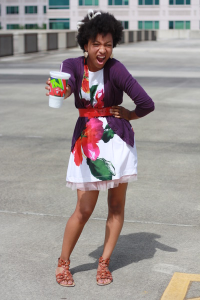 purple Forever 21 cardigan - beige Forever 21 dress - pink Forever 21 skirt - br