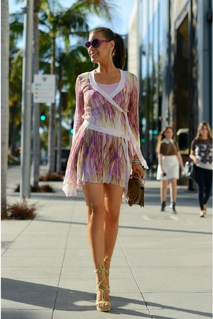 magenta dvf dress - deep purple MYCA Couture sunglasses - yellow Geox wedges