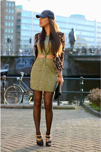 bronze Exrellium blazer - olive green Missguided dress - black Zara hat