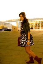 jean blazer Splendid blazer - Report boots - black floral print Forever21 dress