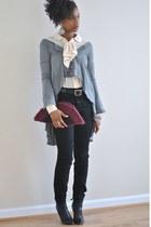 Sigerson Morrison boots - BDG jeans - handcrafted bag - vintage blouse - H&M car