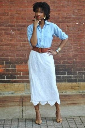 thrifted shirt - vintage skirt - Nine West wedges