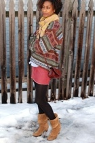Leigh & Luca scarf - vintage sweater - Old Navy skirt - vintage boots - thrifted