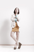 white from Korea blazer - mustard Zara skirt - olive green H&M wedges