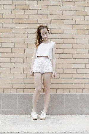 white Kate Moss for Topshop shorts - white faux leather DIY top