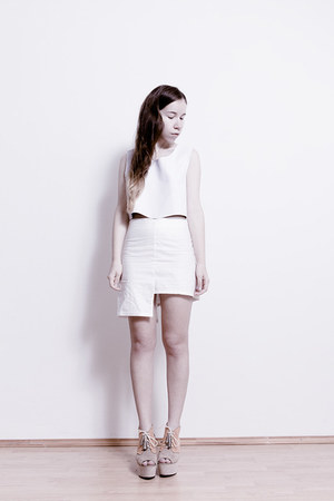 white faux leather DIY top - white linen DIY skirt - beige H&M wedges