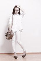 white from Korea leggings - white from Korea shirt - beige from Korea bag