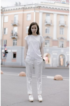 white from Korea bag - white Zara pants - white from Korea wedges