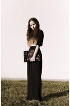 black handmade bag - black chiffon from Korea pants - black cotton H&M top