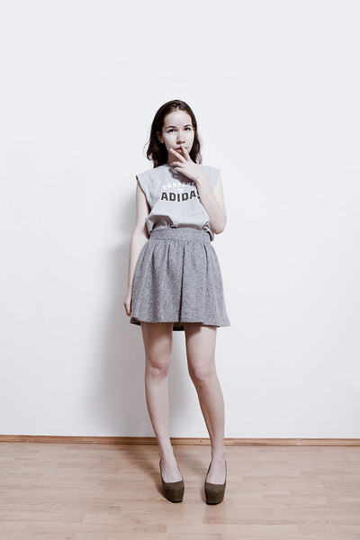 silver adidas top - heather gray from Korea skirt - olive green H&M wedges