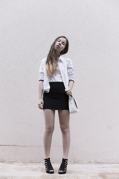 white vintage blazer - white cotton tvoe top - black cotton H&M skirt