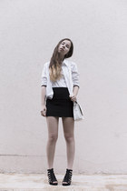 white vintage blazer - white cotton tvoe top - black cotton H&M skirt