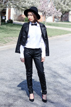 black leather Topshop jacket - black Zara hat - white merona shirt