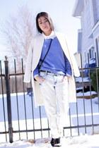 blue H&M sweater - Forever 21 boots - white Zara coat - Zara jeans