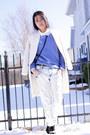 Forever-21-boots-white-zara-coat-zara-jeans-blue-h-m-sweater