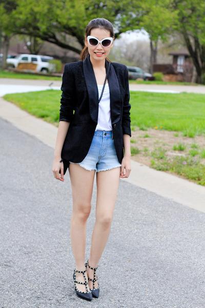 blazer - VeraWang bag bag - Forever21 shorts - cateyes olsenboye sunglasses
