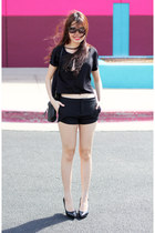 black Forever21 top - metal Dorothy Perkins purse - classy Forever 21 shorts