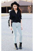 stripe Mango jeans - darkblue Topshop shirt