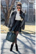 gray faux fur H&M coat - off white Zara sweater - 31 Phillip Lim bag