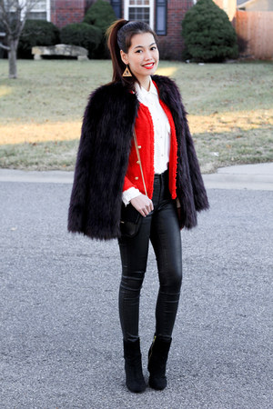 tweed Zara blazer - fur H&M coat - leather Topshop jeans