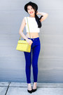 Blue-zara-jeans-yellow-zara-bag-black-zara-heels-white-forever-21-top