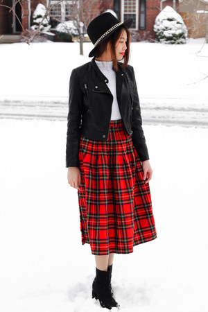 thrift skirt - H&amp;M boots - Zara hat - leather Topshop jacket