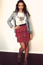 ruby red floral print TamyB skirt - sky blue denim shirt Marisa shirt