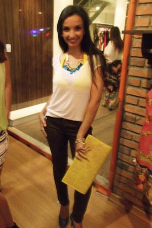 white hi-lo top triton t-shirt - yellow Coisas de amiga purse