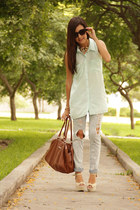 crimson Mango bag - black Mango sunglasses - aquamarine H&M blouse