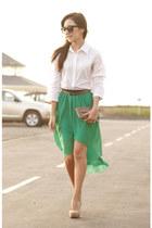 green silk Coco Jolie skirt - bronze animal print Forever 21 wallet