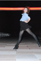 black random brand tights - black H&M dress - blue Topshop shirt