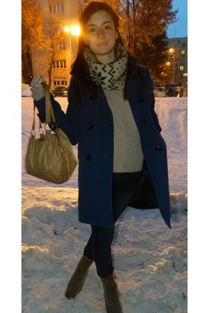 blue winter Marta Style coat - camel New Yorker scarf - eggshell Topshop bag