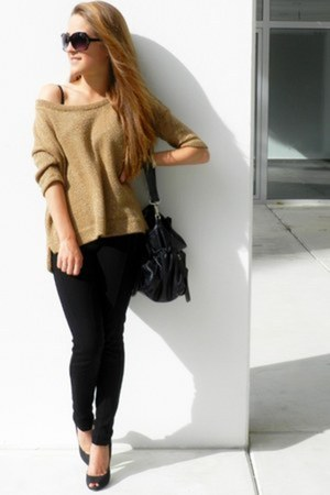 gold Stradivarius sweater - black Zara pants