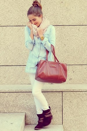 sky blue Stradivarius shirt - light pink Primark scarf - ruby red Mango bag