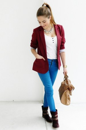 blue Primark jeans - brick red Pull and Bear blazer - camel Primark bag